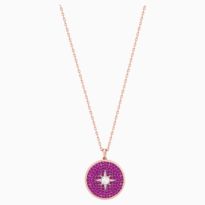 Swarovski Locket Pendant, Pink, Rose-gold tone plated