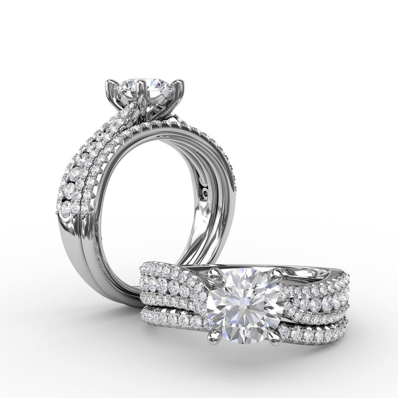 Fana Contemporary Solitaire Engagement Ring With Multi-Row Tapered Diamond Band
