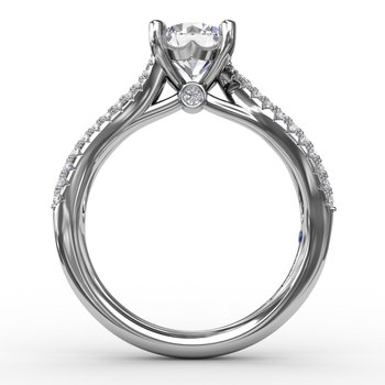 Contemporary Solitaire Engagement Ring With Multi-Row Tapered Diamond Band