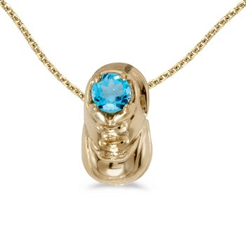 14k Yellow Gold Round Blue Topaz Baby Bootie Pendant