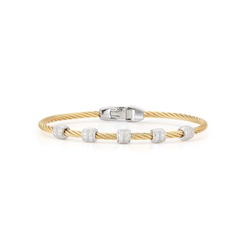 Yellow Cable Multi Station Stackable Bracelet with 18kt White Gold & Diamonds