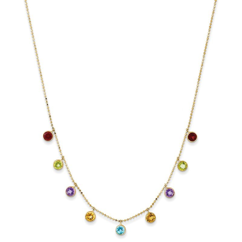 Quality Gold 14K Multi-color Gemstone Necklace w/ 2in ext.