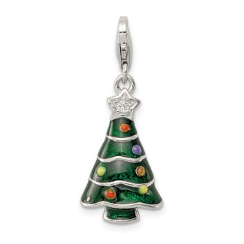 Sterling Silver RH-plated CZ & Enameled Christmas Tree Charm