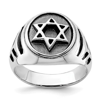 Sterling Silver Rhodium-plated & Antiqued Star of David Ring