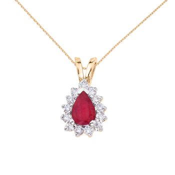 14k Yellow Gold 6x4 mm Pear Shaped Ruby and Diamond Pendant