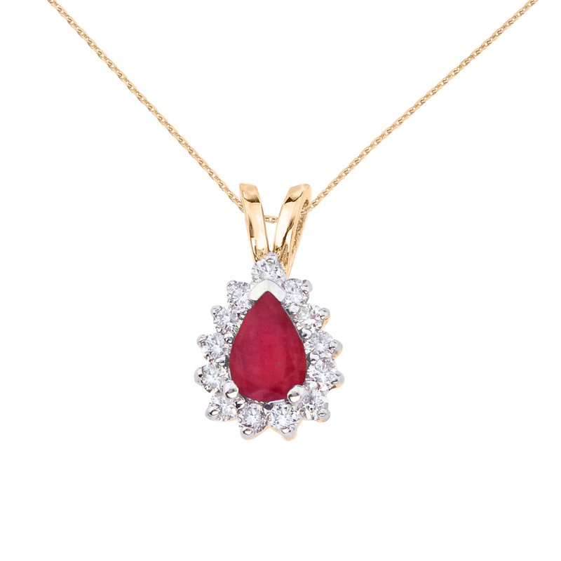 Color Merchants 14k Yellow Gold 6x4 mm Pear Shaped Ruby and Diamond Pendant