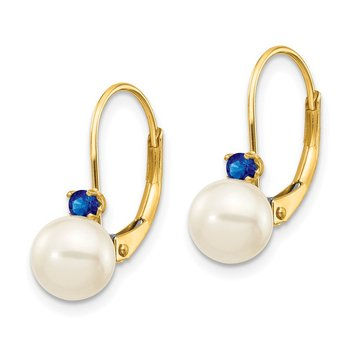 14k 6-6.5mm White Round FW Cultured Pearl Sapphire Leverback Earrings