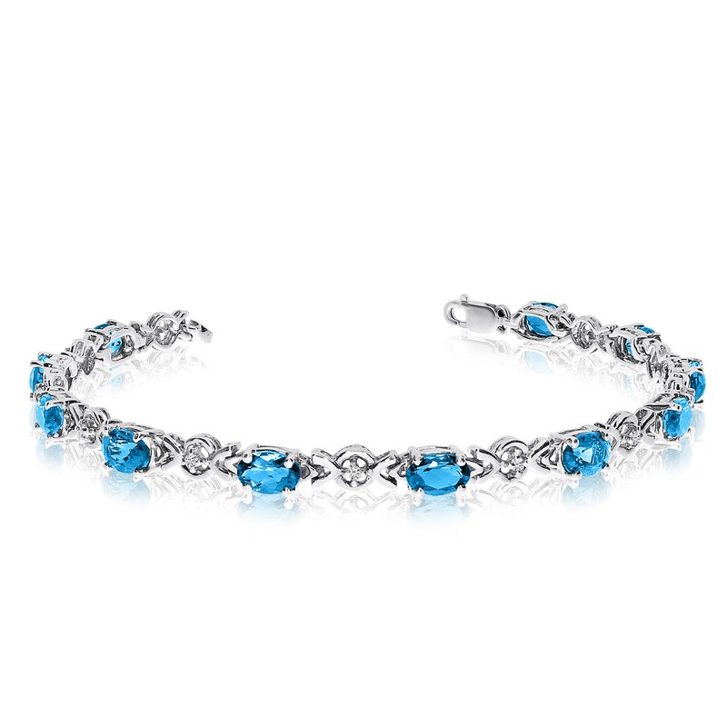 Color Merchants 10K White Gold Oval Blue Topaz and Diamond Bracelet