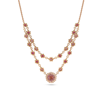 18KT GOLD NECKLACE WITH DIAMONDS, SAPPHIRES AND TOURMALINE