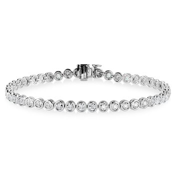 14K Bezeled Diamond Star Tennis Bracelet