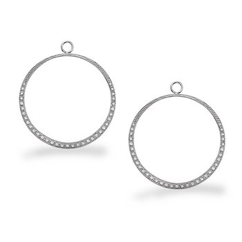 Diamond Large Circle Earring Charms in 14k White Gold with 70 Diamonds weighing .48ct tw.