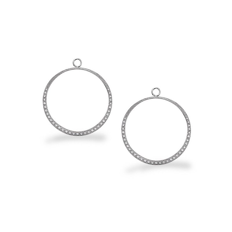 KC Designs Diamond Large Circle Earring Charms in 14k White Gold with 70 Diamonds weighing .48ct tw.