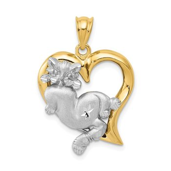 14k Two-tone Cat In Heart Charm