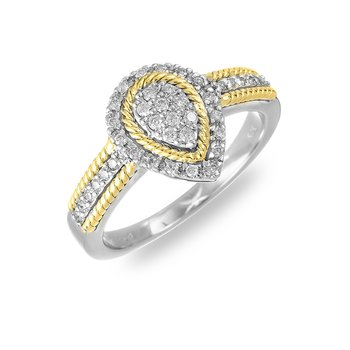 14K WY Diamond Rope Edge Ring