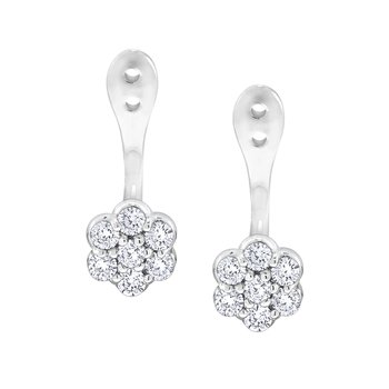14K Gold and Diamond Cluster Earring Jacket