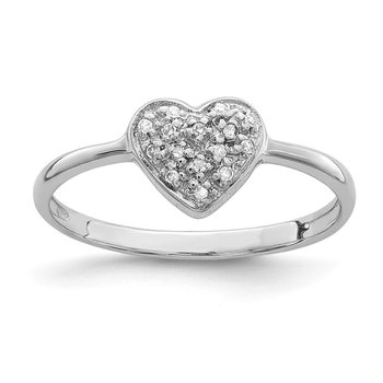 Sterling Silver Rhodium Polished Diamond Heart Ring