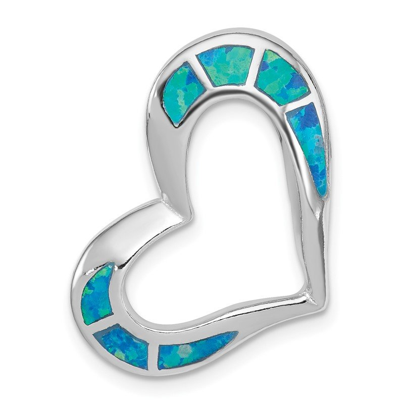 J.F. Kruse Signature Collection Sterling Silver Blue Inlay Created Opal Heart Pendant