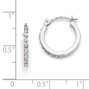 14k White Gold Diamond Fascination Hinged Hoop Earrings