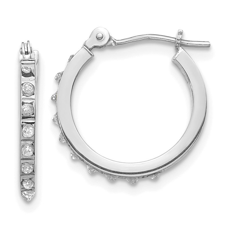 Quality Gold 14k White Gold Diamond Fascination Hinged Hoop Earrings