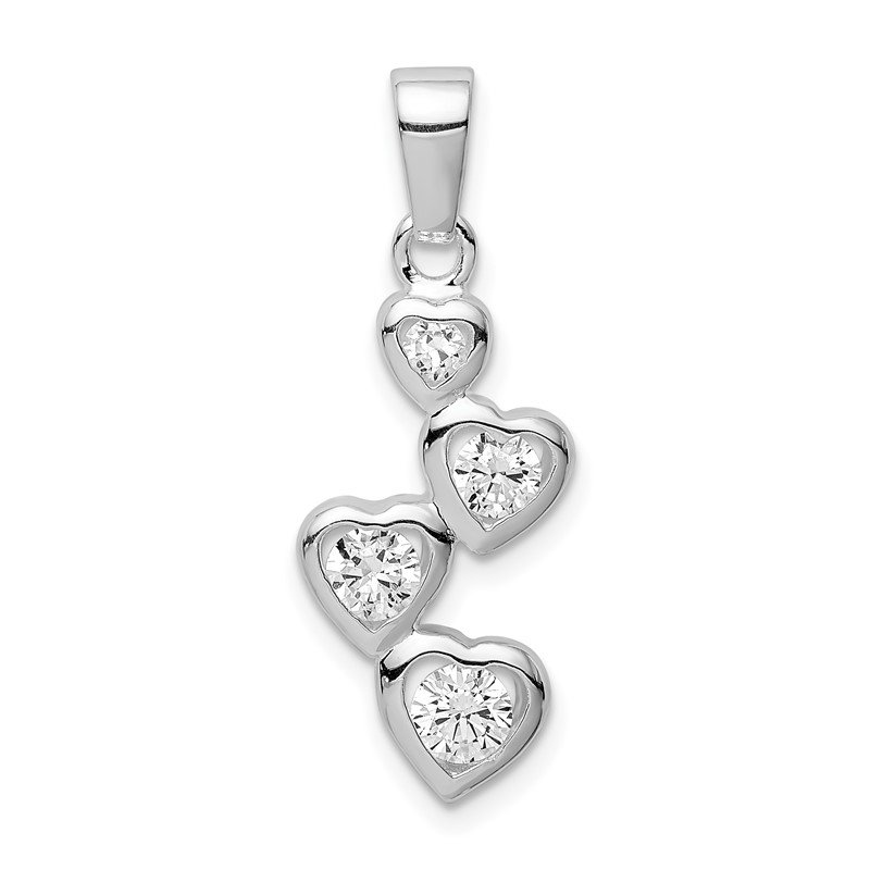 Quality Gold Sterling Silver Rhodium-plated Graduated CZ Heart Pendant
