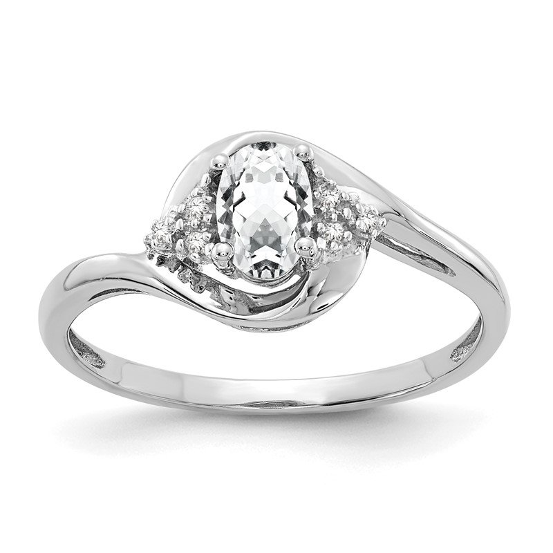 Quality Gold 14k White Gold White Topaz and Diamond Ring