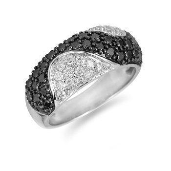 14K WG White and Black Diamond Fashion Wave Ring