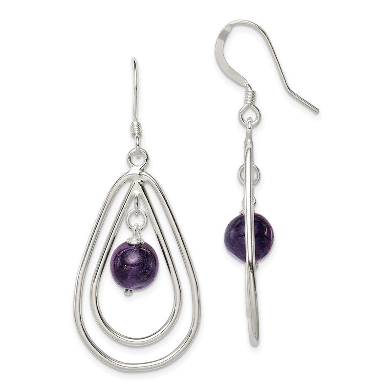 Quality Gold Sterling Silver Amethyst Dangle Earrings