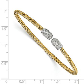 Leslie's Sterling Silver Gold-tone CZ Woven Cuff