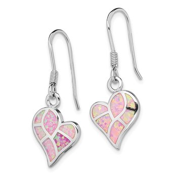 Sterling Silver Rhod-plated Creat. Pink Opal Heart Dangle Earrings