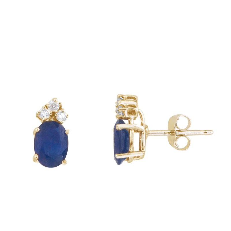 Color Merchants 14k Yellow Gold Sapphire And Diamond Oval Earrings