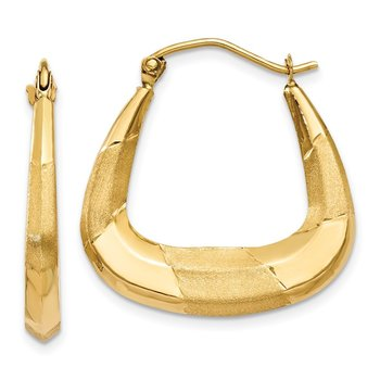 14k Polished, Satin and Diamond-cut Hoop Earrings