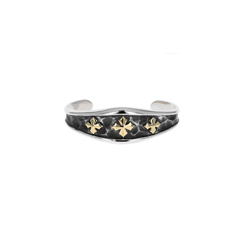 King Baby Hammered Triple Mb Cross Cuff