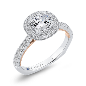 18K Two-Tone Gold Round Diamond Halo Engagement Ring with Euro Shank (Semi-Mount)