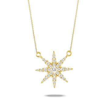 Diamond Sunburst Necklace 18K