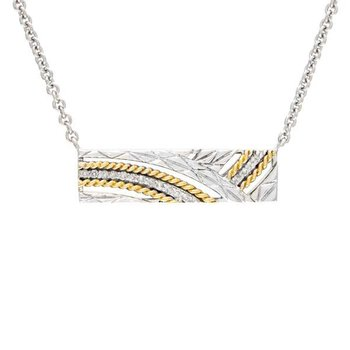 18kt & Sterling Silver Diamond Necklace