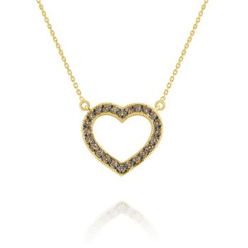 Champagne Diamond Heart Pendant Set in 14 Kt. Gold