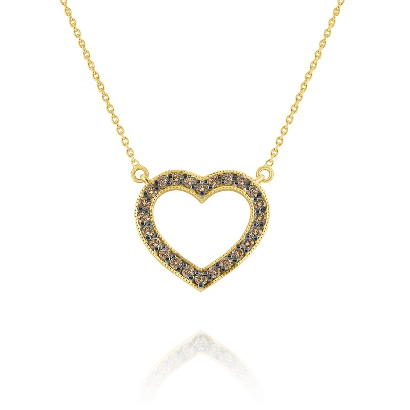 KC Designs Champagne Diamond Heart Pendant Set in 14 Kt. Gold