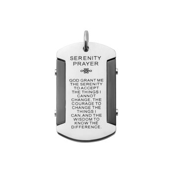 Black Plated & Steel Etched With Serenity Prayer Dog Tag Pendant