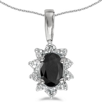 14k White Gold Oval Onyx And Diamond Pendant