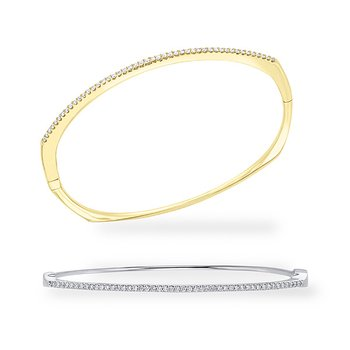 Diamond Hinged Bangle in 14k White and Yellow Gold with 47 Diamonds weighing .47ct tw.