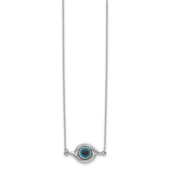 Sterling Silver Rhodium-plated Glass w/2in Ext Eye Necklace