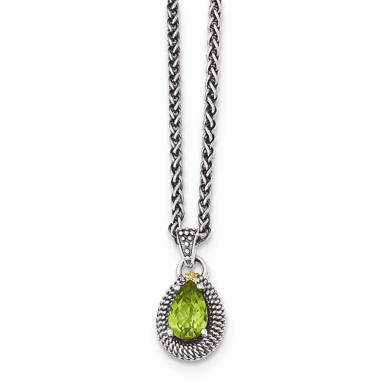 Shey Couture Sterling Silver w/14ky Peridot Pear Shaped Necklace