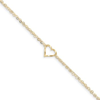 14k Double Strand Heart 9in Plus 1in Ext Anklet
