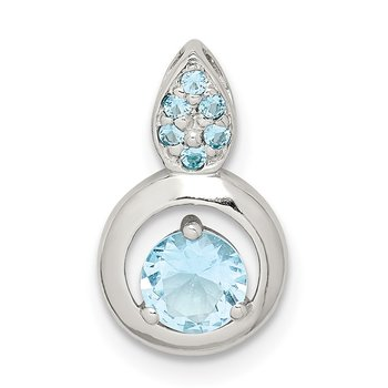 Sterling Silver Blue CZ Chain Slide Pendant