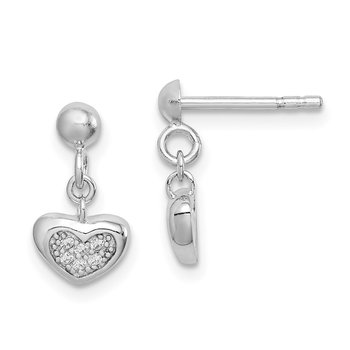Sterling Silver Rhodium-plated CZ Heart Dangle Post Earrings