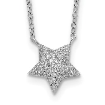 Sterling Silver Rhodium-plated CZ Star with 2in ext. Necklace