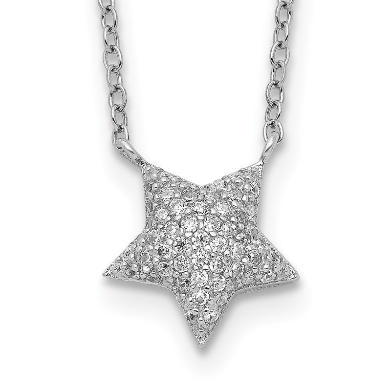Quality Gold Sterling Silver Rhodium-plated CZ Star with 2in ext. Necklace