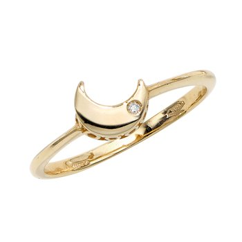 14K Gold .005ct Diamond Moon Ring