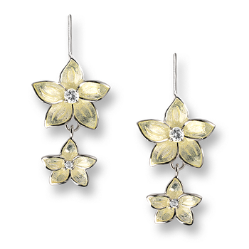 Sterling Silver Stephanotis Floral Wire Earrings-Yellow. White Topaz.