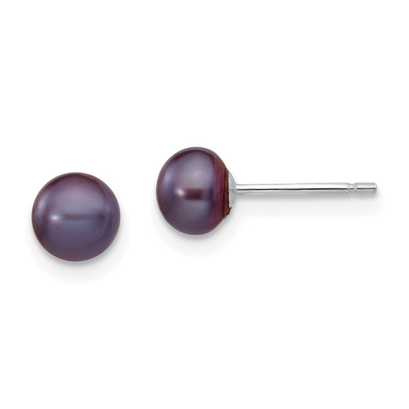 Quality Gold 14k White Gold 5-6mm Black Button FW Cultured Pearl Stud Post Earrings